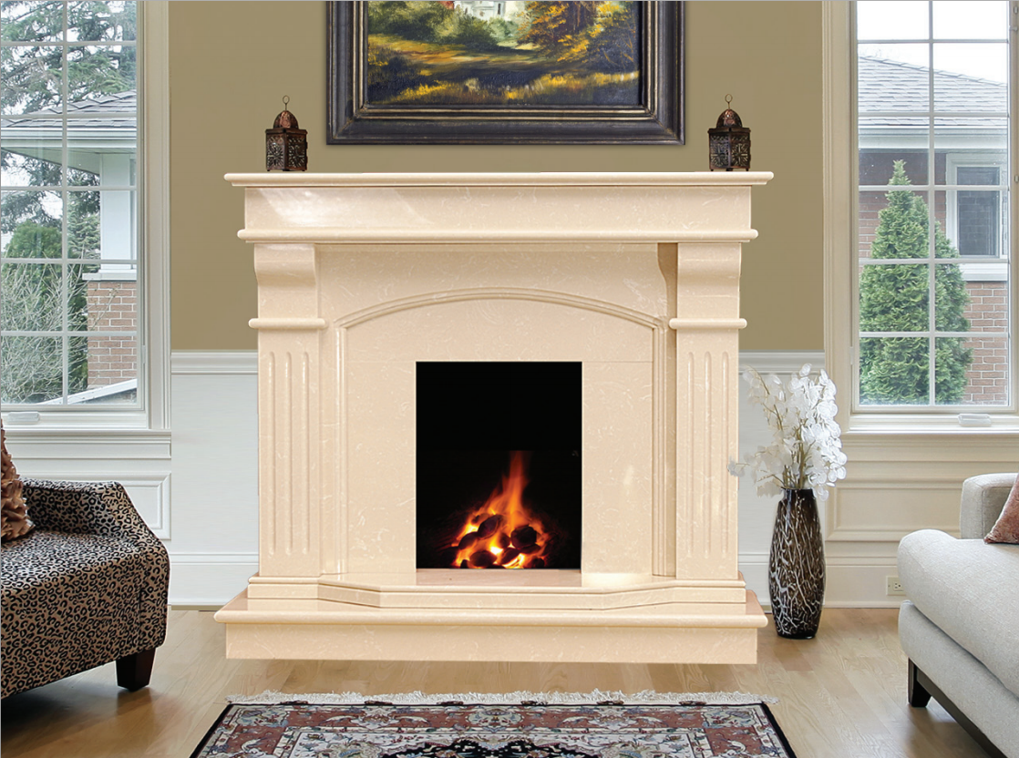 Bridge Marble Fireplace In Cream Marfil Marble Fireplaces Ireland
