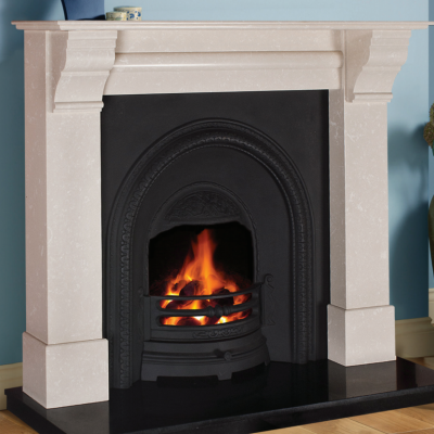French Corbel Cream Marble Fireplace