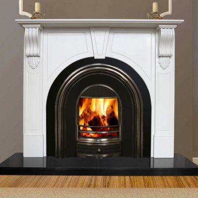 Victorian Arch White Marble Fireplace