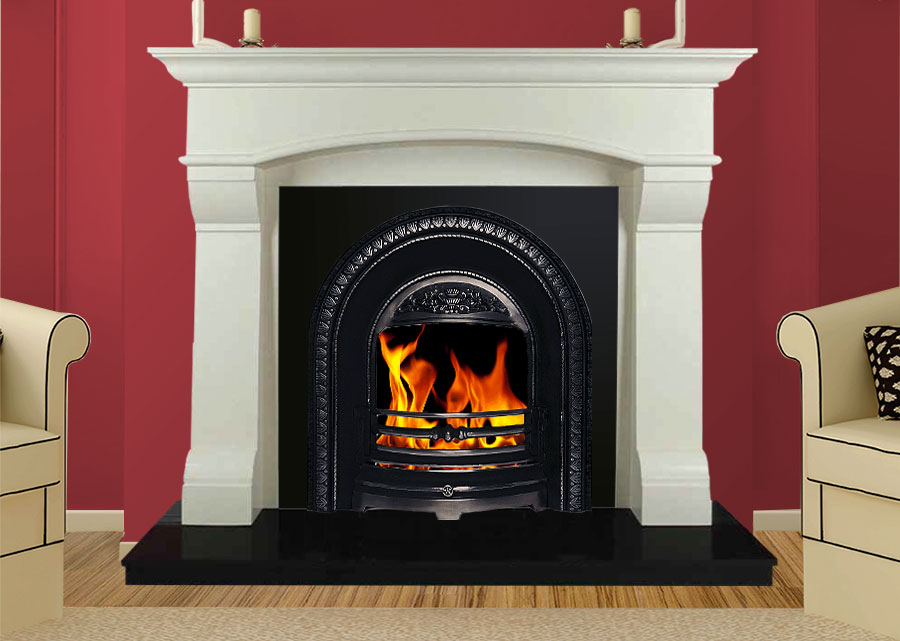 Virgo Marble Fireplace in Ivory Pearl